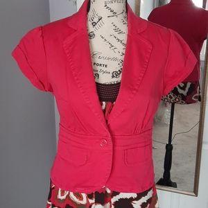 Hot pink crop blazer